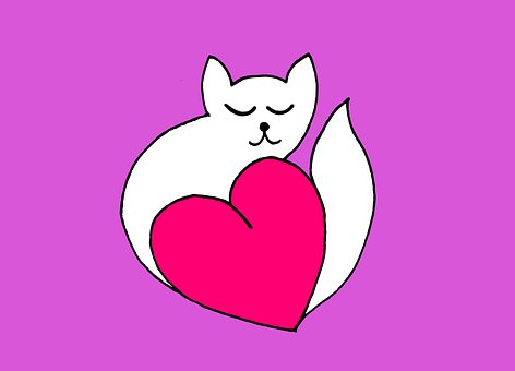 Sketch, Minimalism, Cat, Heart, Silhouette, Circuit