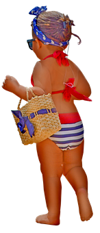 Little Girl, Swimsuit, Purse, Girl, Child, Young