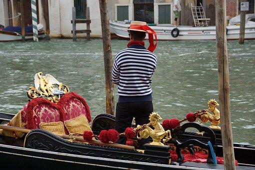 Venice, Gondolier, Italy, Gondola, Channel, Water, City