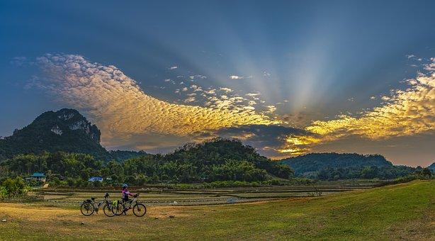 Clouds, The Sun, Mountain, Bike, Nice, Cloudscape