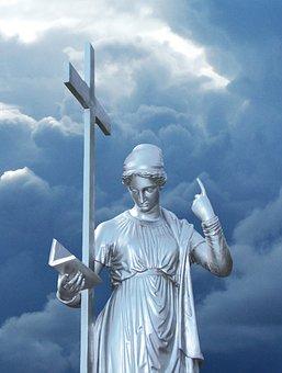 Angel, Metal, Statue, Cross, Clouds, Last Judgment