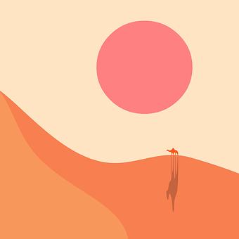 Sand, Desert, Sun, Camel, Sand Dunes, Sunset, Landscape