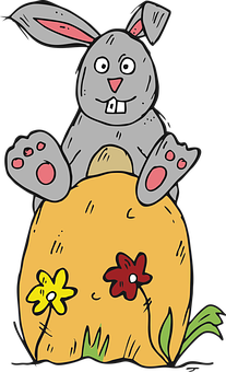 Hare, Eggs, Easter, Cartoon, Colorful, Spring, Design