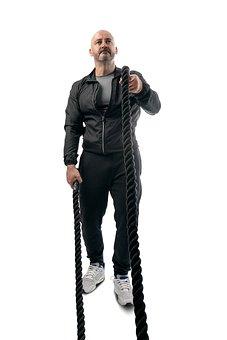 Man, Cross Training, Battle Rope, Exercise, Fitness