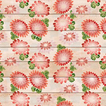 Wood Digital Paper, Floral, Wood Background, Flowers