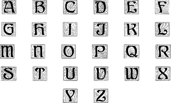 Monogram Letters, Gothic, Letter, Font, Decorative