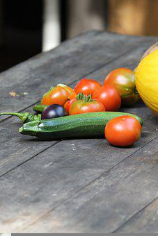 Vegetables, Tomatoes, Zucchini, Wooden Table, Food