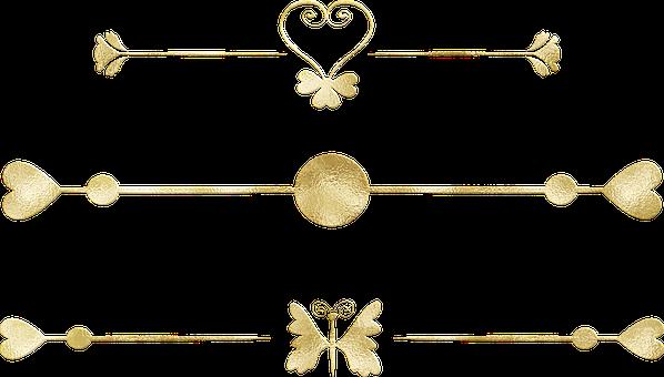 Gold Foil Dividers, Flourishes, Border, Frame, Vintage