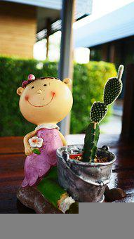 Doll, Cactus, Smile, Happy, Girl, Face, Figurine
