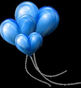 Heart Balloons, Blue Hearts, Colorful Balloons