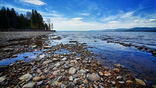 Flathead Lake, Beach, Lake, Sky, Montana, Water, Nature