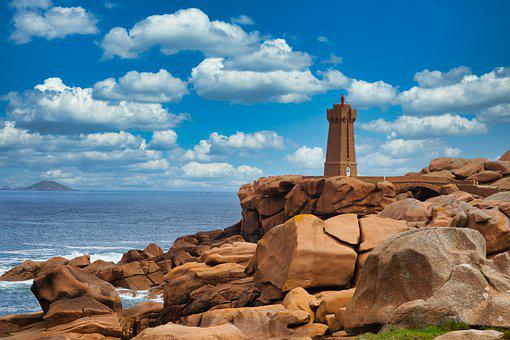 France, Sea, Brittany, Coast, Lighthouse, Water, Nature
