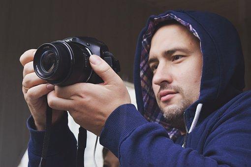 Man, Foto, Photographer, Photos, Professional, Standing