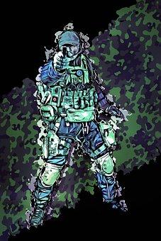 Man, Male, Soldier, Fighter, Safety Gear, War, Battle