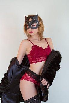 Woman, Model, Portrait, Lingerie, Fur Coat, Mask