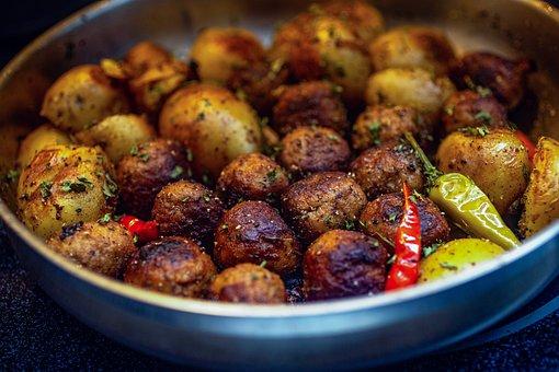 Swedish, Meatballs, Fried Potatoes, Swedish Meatballs