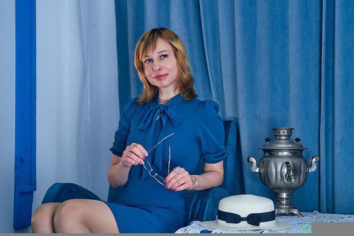 Woman, Model, Portrait, Blue Dress, Dress, Fashion