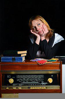 Old Radio, Girl, Portrait, Model, Modeling, Pose