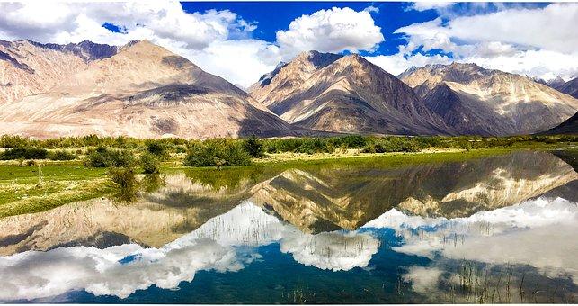 Ladakh, Reflection, Mountains, Sky, Nature, Mountain