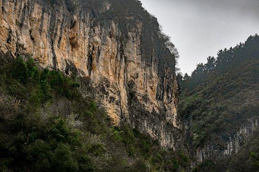 Cliff, Canyon, Landscape, Rock, Shrubs, Nature, Jungle