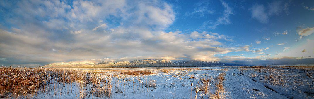 Reservoir, Winter, Landscape, Snow, Nature
