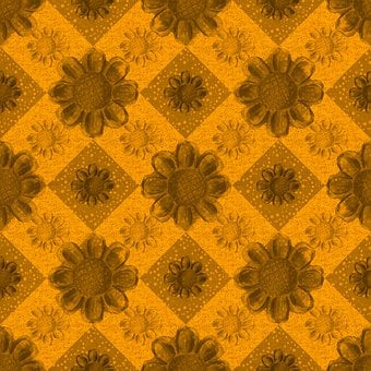 Flowers, Checkered, Background, Pattern, Wallpaper