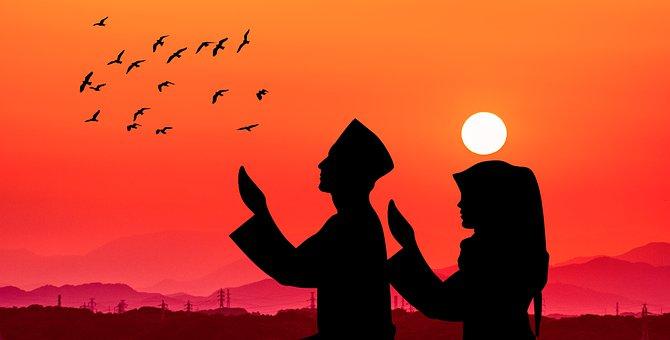Muslim, Praying, Silhouette, People, Birds, Sunlight