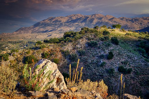 Mountains, Valley, Landscape, Rocks, Stones, Bushes