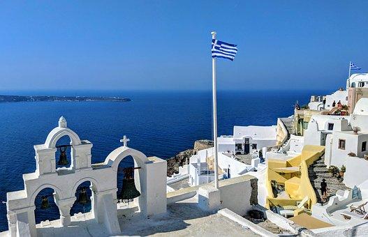 Church, Flag, Architecture, Sea, Mediterranean, Greece