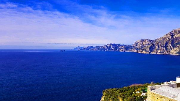 Sea, Coast, Mountains, Bay, Ocean, Water, Amalfi Coast