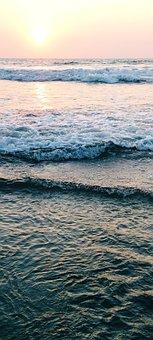 Beautiful, Sky Lighting, Sea, Sunset, Sea Waves