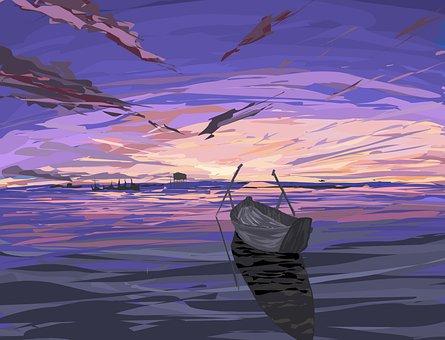 Ship, Boat, Evening, Sunset, Lake, Twilight, Sky