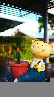 Doll, Cactus, Smile, Happy, Face, Figurine, Decorative