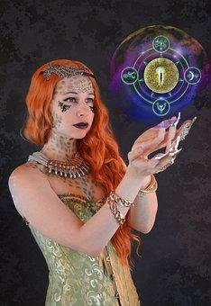 Fantasy, Portrait, Magic, Woman, Redhead, Sorceress
