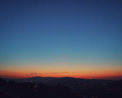 Barcelona, Sunset, Sky, Spain, City, Twilight, Clouds