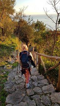 Woman, Trekking, Stairs, Amalfi Coast, Stone, Stairway