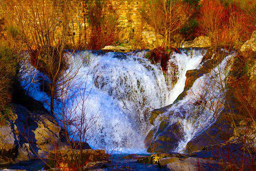 Waterfall, Stream, Forest, Cliff, River, Water, Woods