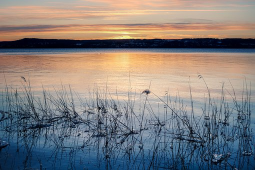 Lake, Reed, Sunset, Sunrise, Mountains, Silhouette