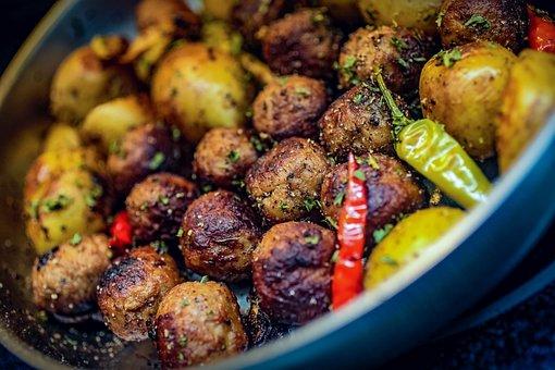 Swedish, Meatballs, Fried Potatoes