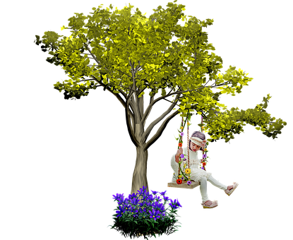 Tree, Swing, Little Girl, Cut Out Render, 3d, Nature