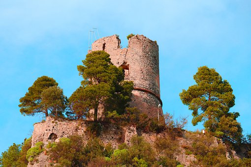 Ruin, Cliff, Trees, Woods, Structure, Historic