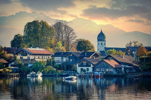 Village, Buildings, Lake, Boats, Reflection, Water