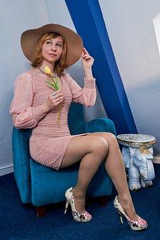 Armchair, Woman, Hat, Fashion, Style, Vintage, Retro