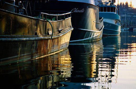 Fishing, Reflection, Water, Yaquina Bay, Fishing Boats