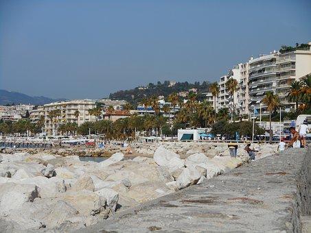 Cannes, Sun, Beach, Wave, Ocean, Sea, Sky, Blue, Houses