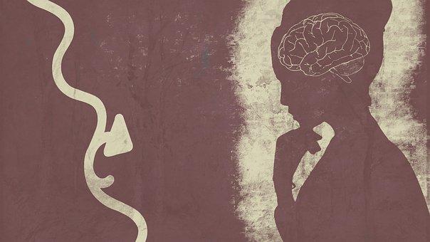 Brain, Woman, Pondering, Silhouette, Brainstorm