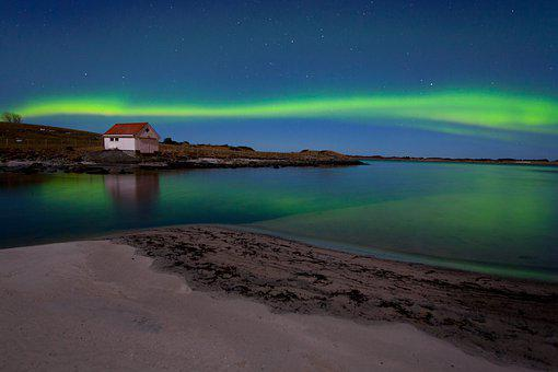 Cabin, Ocean, Northern Lights, Aurora Borealis, Lights