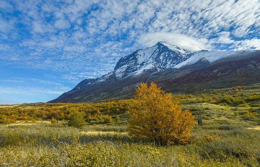 Landscape, Mountains, Autumn, Snow, Sky, Autumn Colors