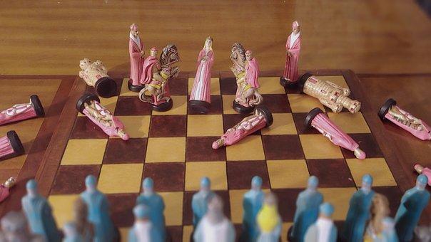 Chess, Wood, Ceramic, Battle