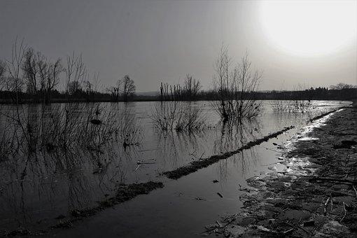 Landscape, Nature, River, Water, Sun, Black And White